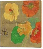 Nasturtiums With Bumble Bee Wood Print