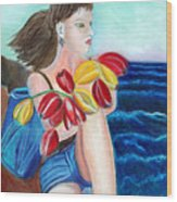 Natasha By The Sea Wood Print by Pilar  Martinez-Byrne