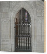National Cathedral Grated Door Wood Print