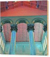 National Columns Blue Wood Print