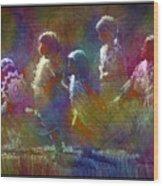 Native American - 5 Girls Dancing In The Moonlight Wood Print