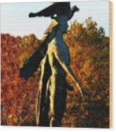 Native American And Eagle Wood Print