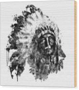 Native American Chief Black And White Wood Print
