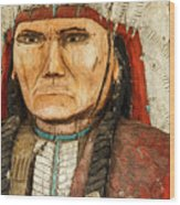 Native American Chief With Pipe Wood Print