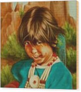 Native American Girl Wood Print