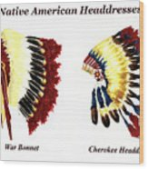 Native American Headdresses Wood Print