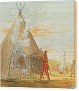 Native American Indian Sweat Lodge Wood Print by Science Source
