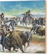 Native American Indians Killing American Bison Wood Print