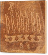 Native American Petroglyph On Orange Sandstone Wood Print