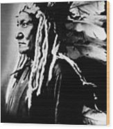 Native American Sioux Chief Sitting Wood Print by Everett