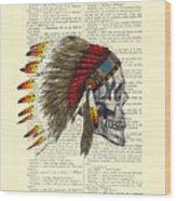 Native American Skull Wood Print