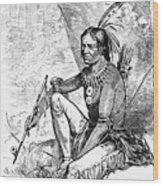 Native American With Pipe Wood Print