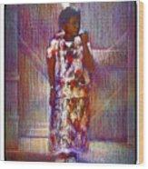 Native American - Young Girl Standing In Doorway Wood Print