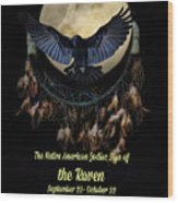 Native American Zodiac Sign Of The Raven Wood Print