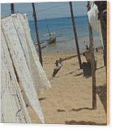 Native Beach Scene Wood Print