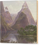 Native Figures In A Canoe At Milford Sound Wood Print
