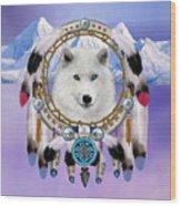 Native Indian Wolf Spirit Wood Print