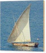 Native Sail Boat Wood Print