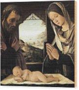 Nativity By Lorenzo Costa Wood Print