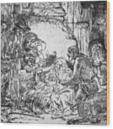 Nativity Wood Print by Rembrandt