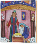 Nativity With Angels Wood Print