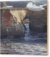Natural Bridge At Point Arena Wood Print