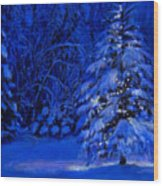 Natural Christmas Tree Wood Print by Susan Jenkins