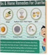 Natural Home Remedies For Diarrhea In Kids And Adults Wood Print
