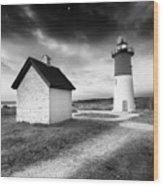 Nauset Light - Black And White Lighthouse Wood Print