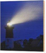 Nauset Light Storm Wood Print