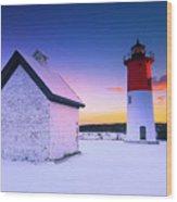 Nauset Lighthouse Sunset,  First Snow Wood Print