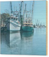 Nautical Aquas At The Harbor Wood Print