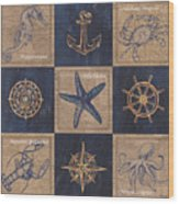 Nautical Burlap Wood Print