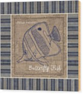 Nautical Stripes Butterfly Fish Wood Print
