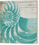 Nautilus Shell Distressed Wood Wood Print