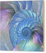 Nautilus Shells Blue And Purple Wood Print