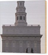 Nauvoo Temple Dawn  With Bronze Sculpture Of Hyrum And Joseph Smith Wood Print