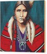Navajo Woman In Red Wood Print
