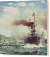 Naval Battle Explosion Wood Print