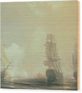 Naval Battle In Chesapeake Bay Wood Print by Jean Antoine Theodore Gudin