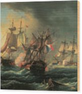 Naval Combat Between The Rights Of Man And The English Vessel Indefatigable And The Frigate Amazon Wood Print