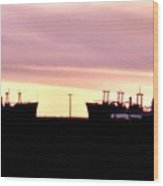 Naval Ships On Grizzly Bay Wood Print