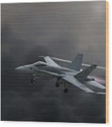 Navy F18 Super Hornet Wood Print