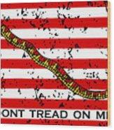 Navy Jack Flag - Don't Tread On Me Wood Print