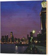 Navy Pier Sunset Wood Print