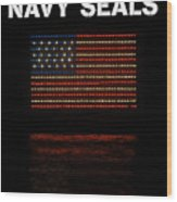 Navy Seals Flag Wood Print