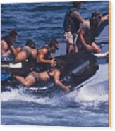 Navy Seals Practice High Speed Boat Wood Print