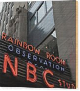 Nbc Studio Rainbow Room Sign Wood Print