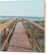 Nc Beach Boardwalk Wood Print