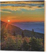 Nc Mountain Sunrise Blue Ridge Mountains Wood Print